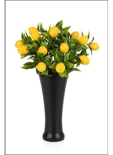 Kitchen Love Siyah Cam vazo içinde 2 BUKET yapay Limon demeti Renkli